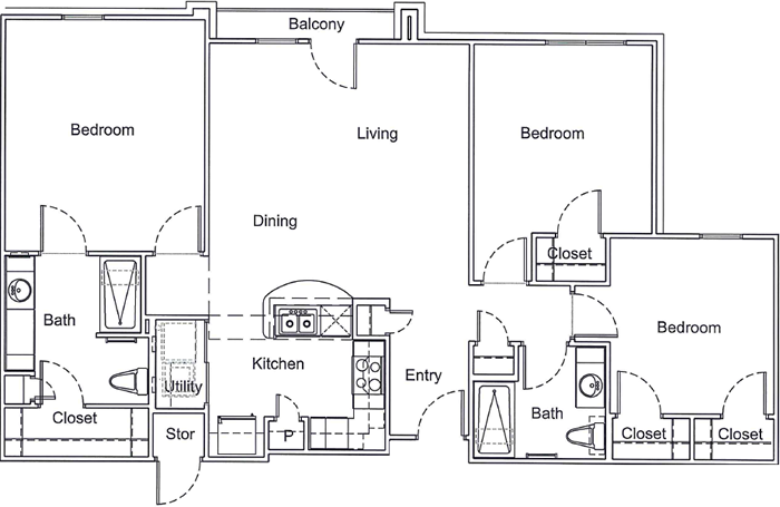 1,300 sq. ft. 30% floor plan