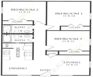 1,080 sq. ft. R floor plan