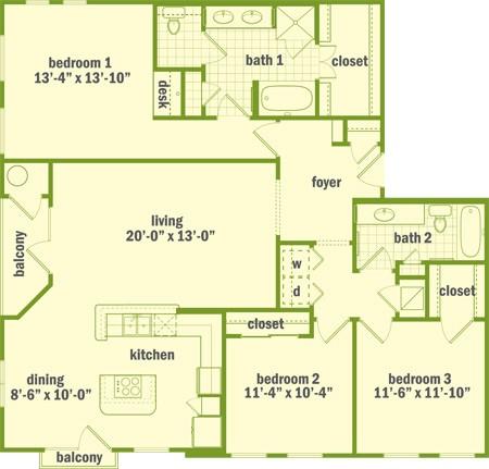 1,548 sq. ft. C1 floor plan