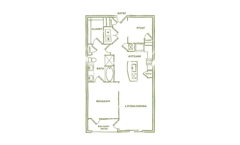 946 sq. ft. A4 floor plan