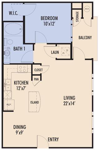 744 sq. ft. ALMANSA/60 floor plan