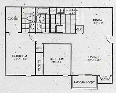 876 sq. ft. C1 floor plan