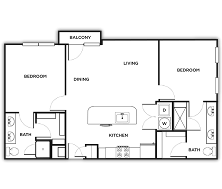 964 sq. ft. Naples floor plan