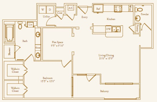 1,265 sq. ft. Ella Lee floor plan