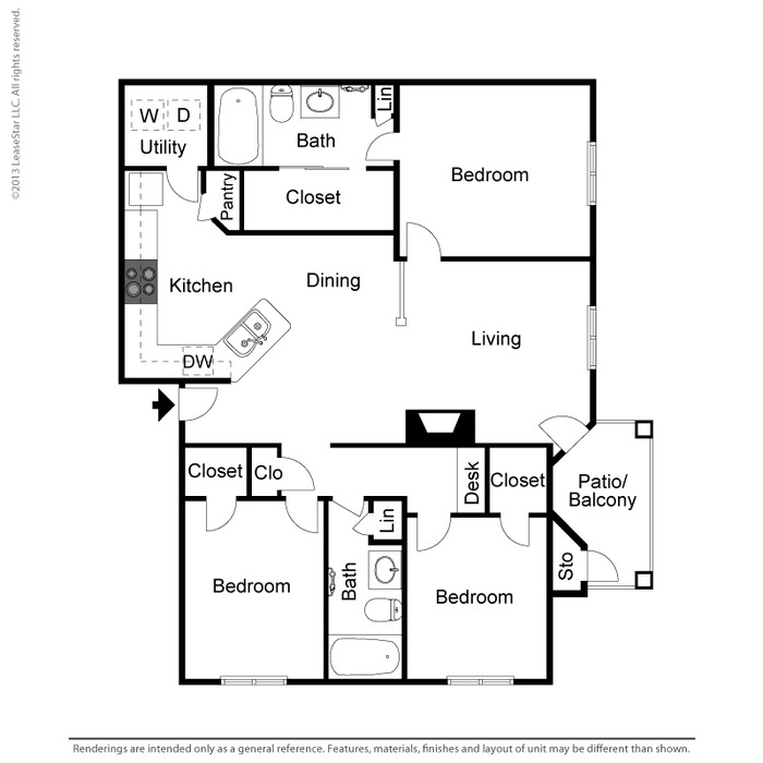 1,370 sq. ft. C2 floor plan