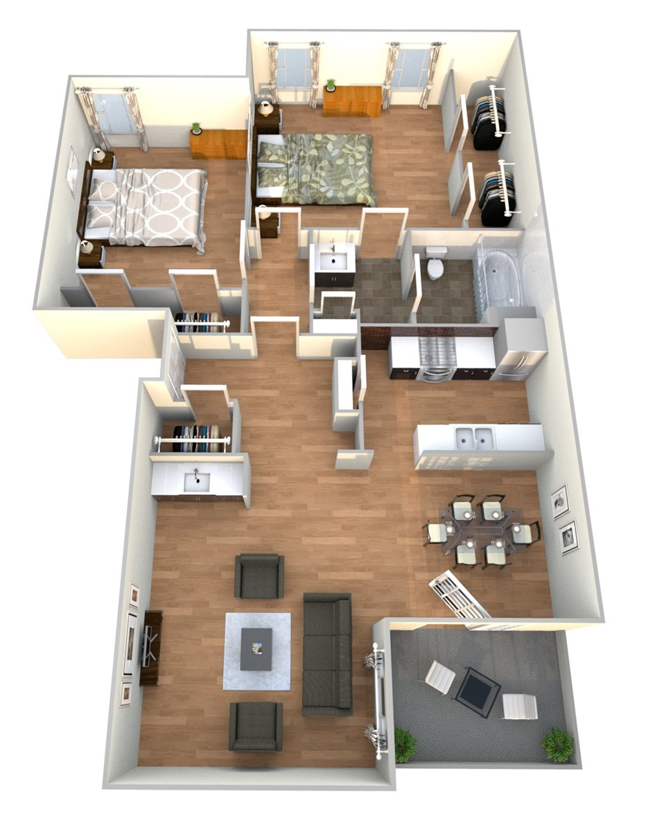 933 sq. ft. 2x1 A floor plan