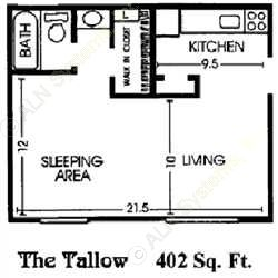 402 sq. ft. A floor plan
