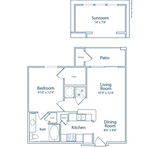 637 sq. ft. A1 floor plan