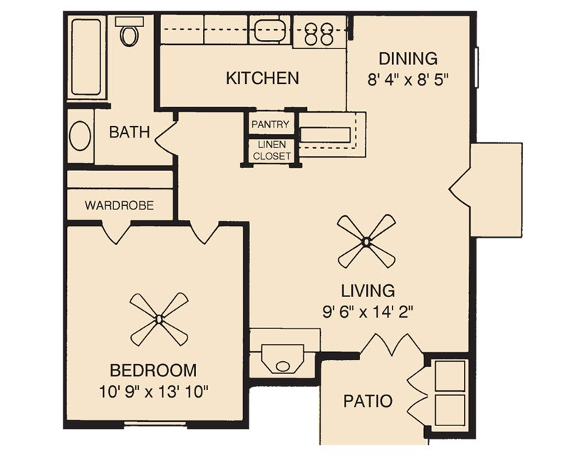 650 sq. ft. Granite floor plan