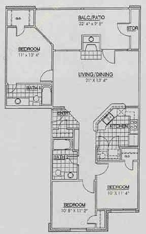 1,145 sq. ft. C1 floor plan