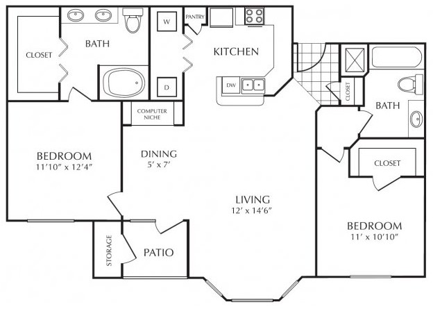 1,102 sq. ft. D floor plan