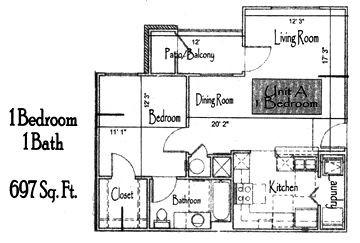 697 sq. ft. 60% floor plan