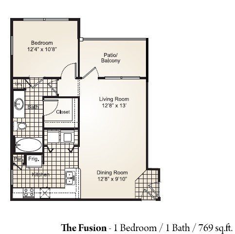 769 sq. ft. FUSION G floor plan