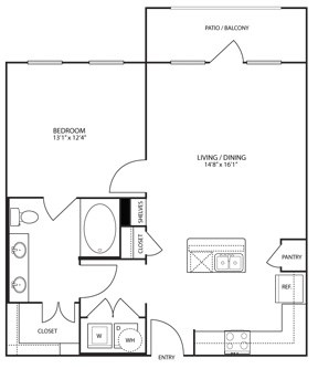 751 sq. ft. to 773 sq. ft. A2 floor plan