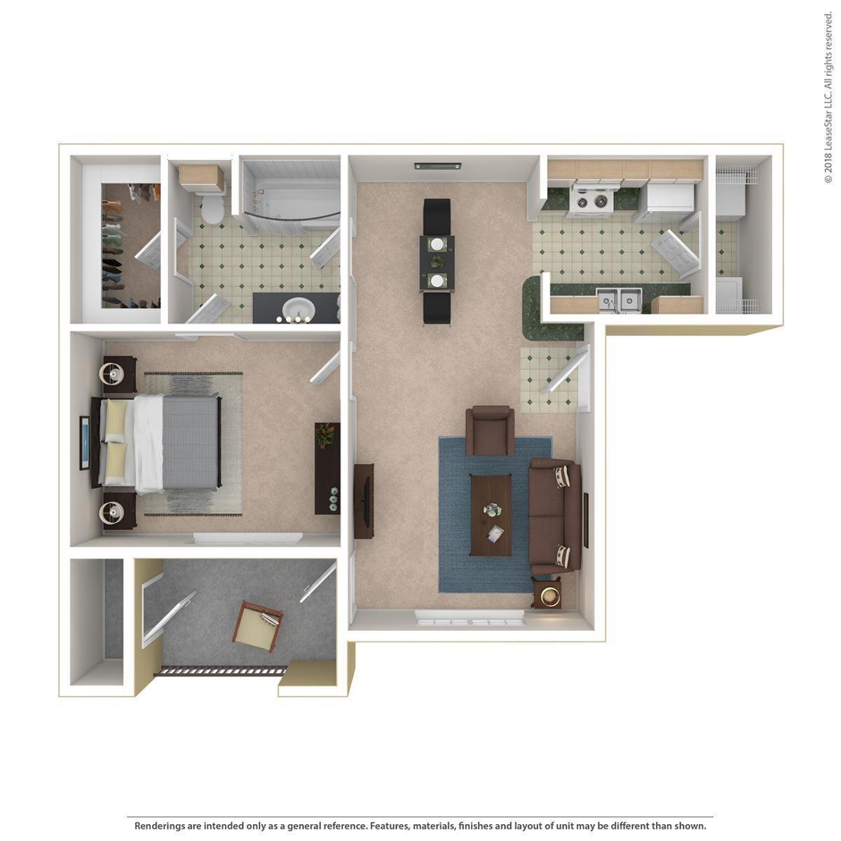 665 sq. ft. York floor plan