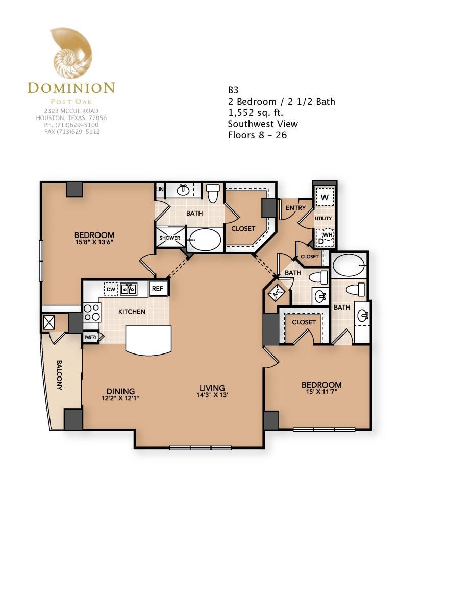 1,552 sq. ft. B3 floor plan