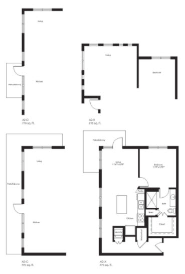895 sq. ft. A2B floor plan