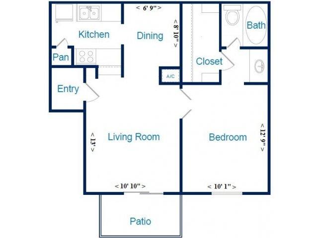 582 sq. ft. A floor plan