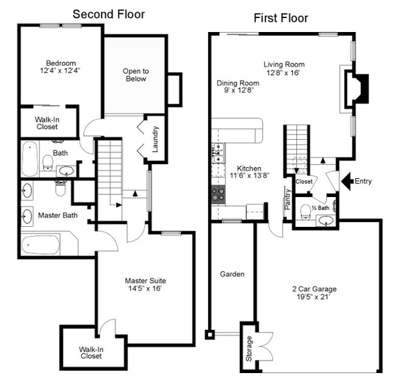 1,411 sq. ft. Colonial floor plan