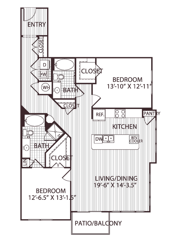 1,365 sq. ft. B5 floor plan