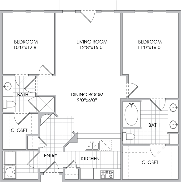 1,173 sq. ft. B1 floor plan