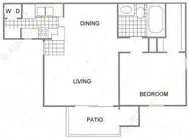 617 sq. ft. B2 w/W/D floor plan