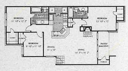 1,223 sq. ft. C2 floor plan