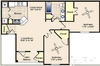 890 sq. ft. to 995 sq. ft. B1 floor plan