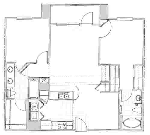 1,025 sq. ft. CAPRI floor plan