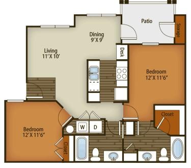 959 sq. ft. to 995 sq. ft. B1 floor plan