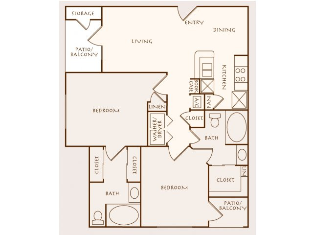 1,027 sq. ft. B1 floor plan
