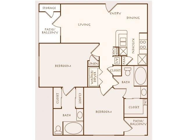 1,027 sq. ft. Parob floor plan