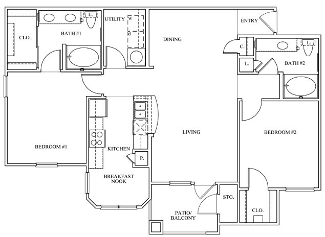 1,169 sq. ft. 22D floor plan
