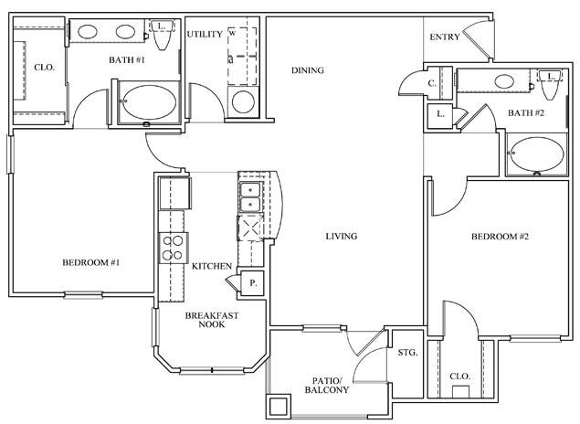 1,169 sq. ft. 22D floor plan