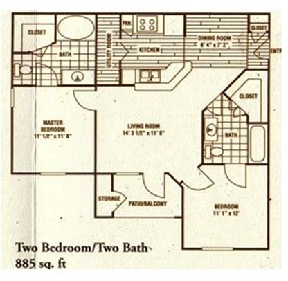 885 sq. ft. B1 floor plan