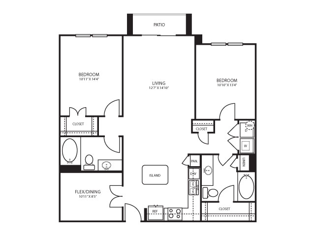 1,207 sq. ft. B3 floor plan