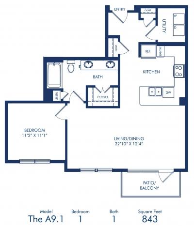 843 sq. ft. A9.1 floor plan