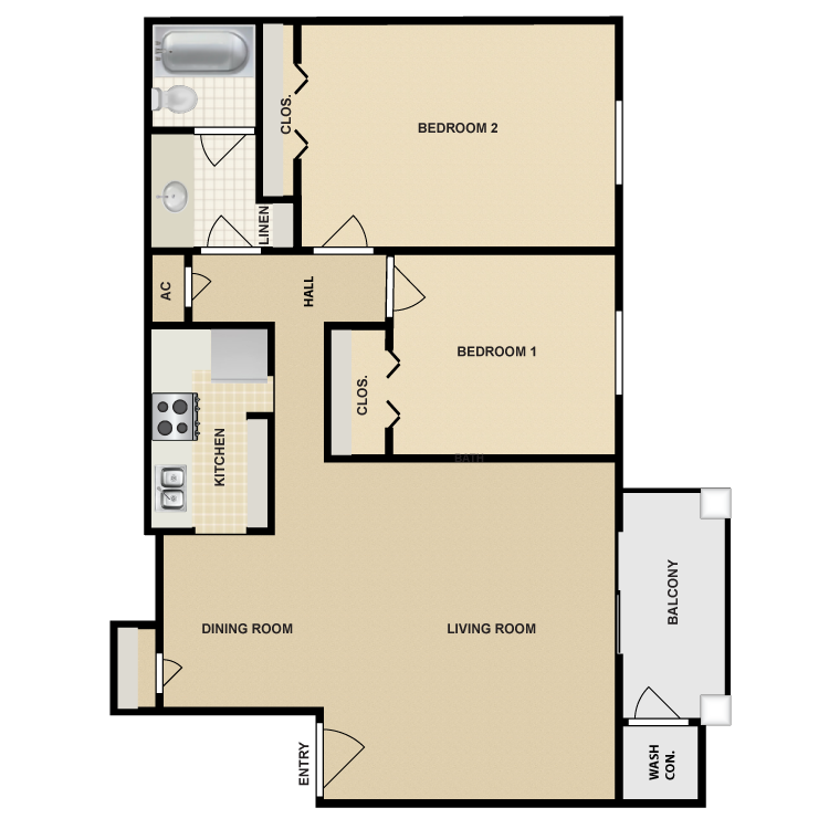 933 sq. ft. B4 floor plan