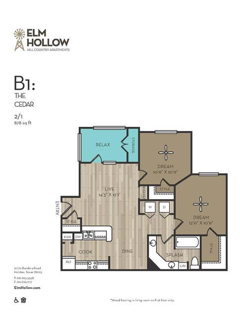 878 sq. ft. Cedar floor plan