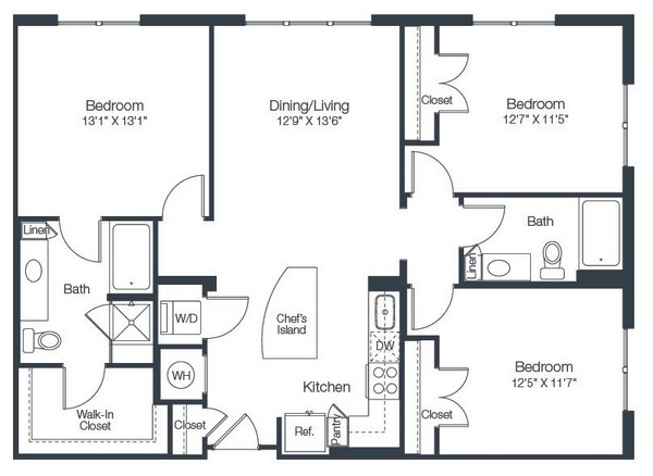 1,257 sq. ft. C1 floor plan