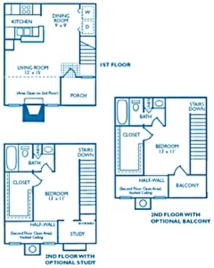 870 sq. ft. Cambridge w/Study floor plan