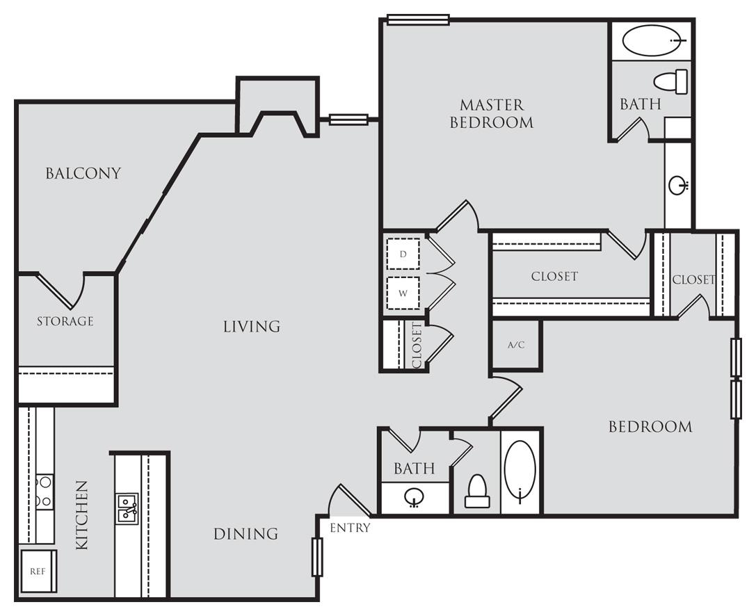 1,229 sq. ft. B3 floor plan