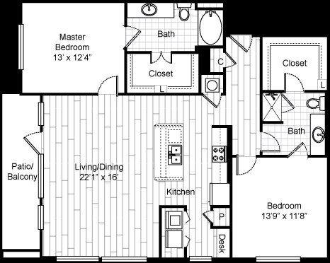 1,388 sq. ft. 22F4 floor plan