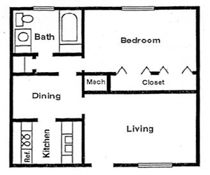 600 sq. ft. A/B/C floor plan