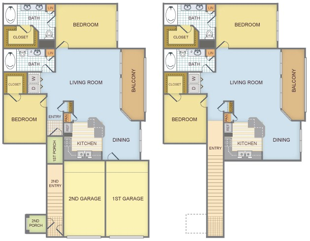 1,256 sq. ft. to 1,376 sq. ft. E/l Dora floor plan