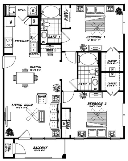 1,108 sq. ft. B2B floor plan