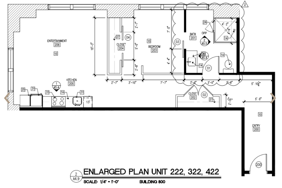 777 sq. ft. L floor plan