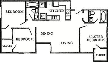 1,039 sq. ft. 50% floor plan
