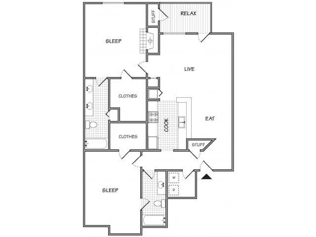1,164 sq. ft. floor plan