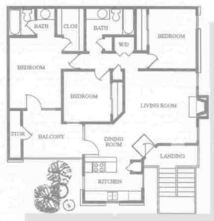 1,159 sq. ft. C1 floor plan